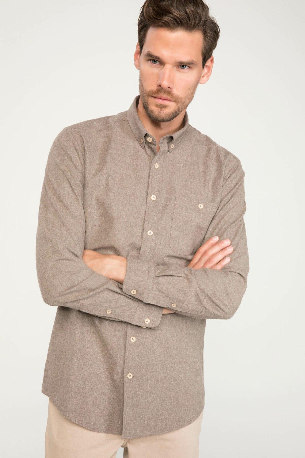 DeFacto Man Solid Color Turn-down Collar Long Sleeve Shirt Men's Autumn Pockets Decors Top Shirts-J1528AZ18WN