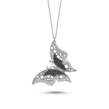 Silver 925 Sterling Zircon Butterfly Necklace
