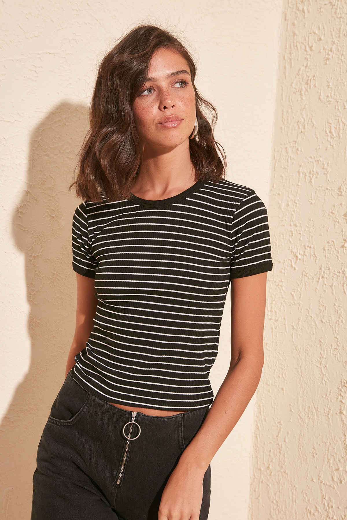 Trendyol Striped Ribbed Knitted Blouse TWOSS20BZ0189