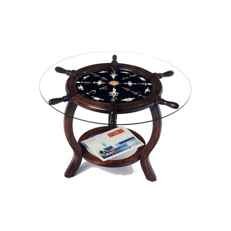 Rudder Wheel Table Ø72x49cm With White Knots (served Without Glass)