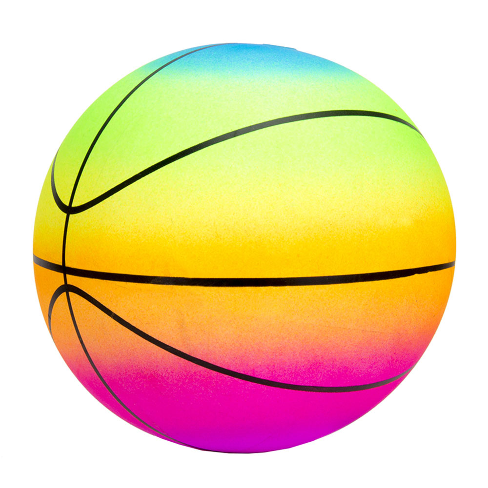 BASKETBALL GAME BALL, 23 CM, RAINBOW, PVC, FOR CHILDREN, FOR GIRLS, BEAUTIFUL, BRIGHT, MULTI-COLORED