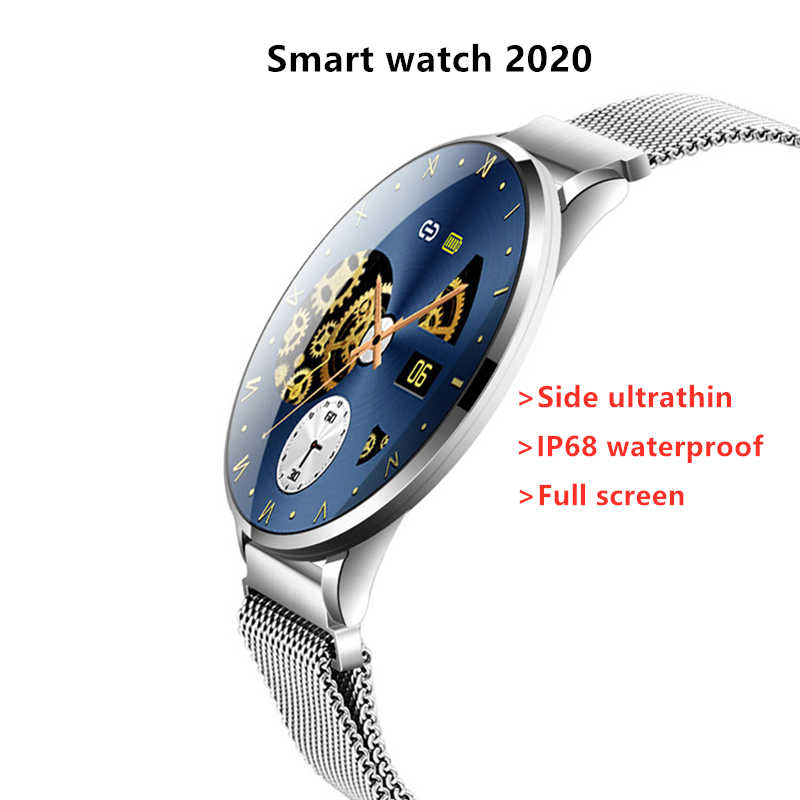 Side Ultradunne Smart Horloge 2020 Roun Screen Fitness Tracker Hartslagmeter IP68 Waterdichte Smartwatch Voor Vrouwen Mannen Android