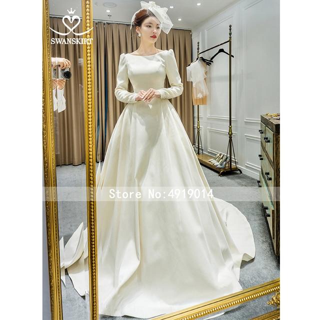 Long Sleeve Satin Wedding Dress SwanSarah Vintage Backless Princess A-Line Court Train Bride Grown Button Vestido De Noiva I195 4