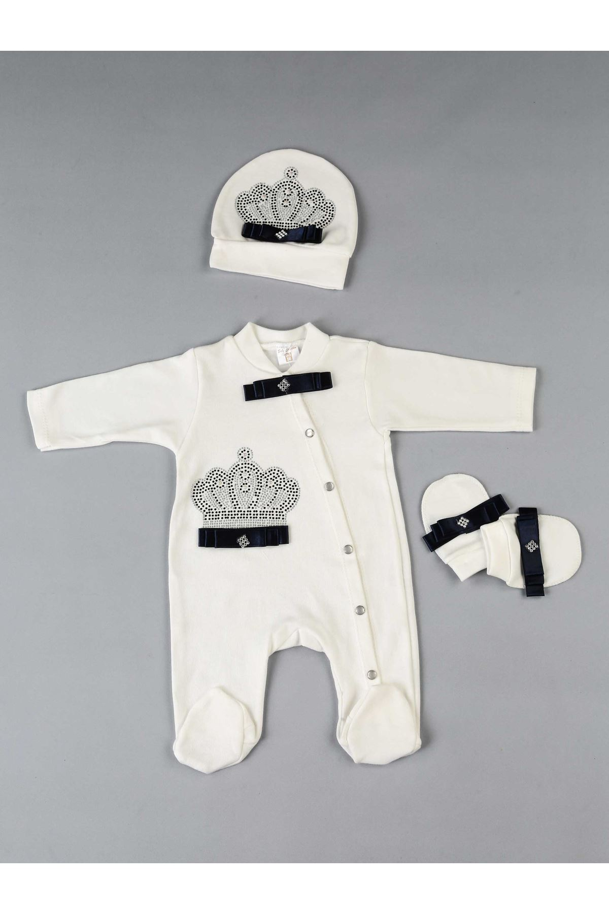 Navy Blue King Crowned 3 PCs Baby Boy Rompers