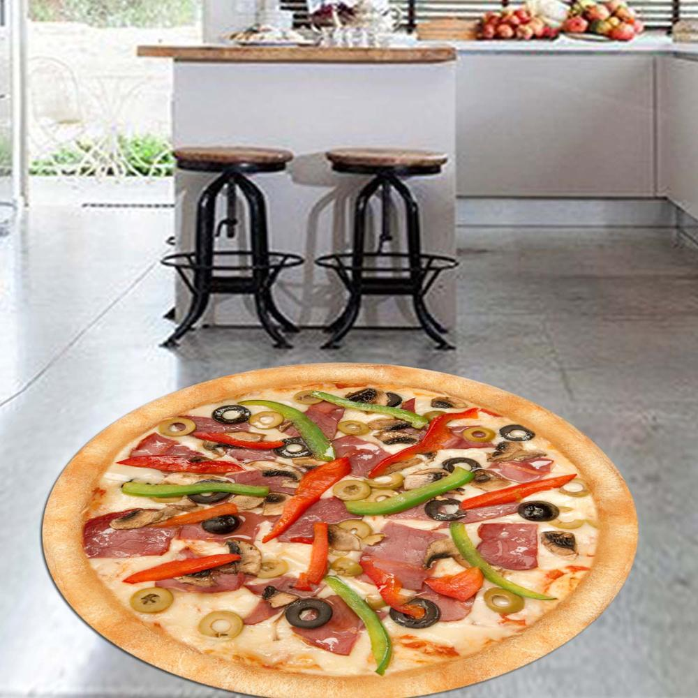 Else Big Pizza On Fresh Vegetables 3d Pattern Print Anti Slip Back Round Kitchen Carpets Area Rug For Living Rooms