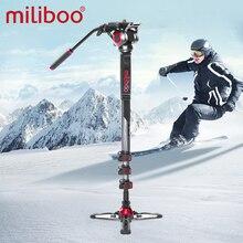 "Miliboo mtt705 alumínio portátil cabeça fluida câmera monopé para filmadora/dslr suporte tripé de vídeo profissional 72 ""altura máxima"