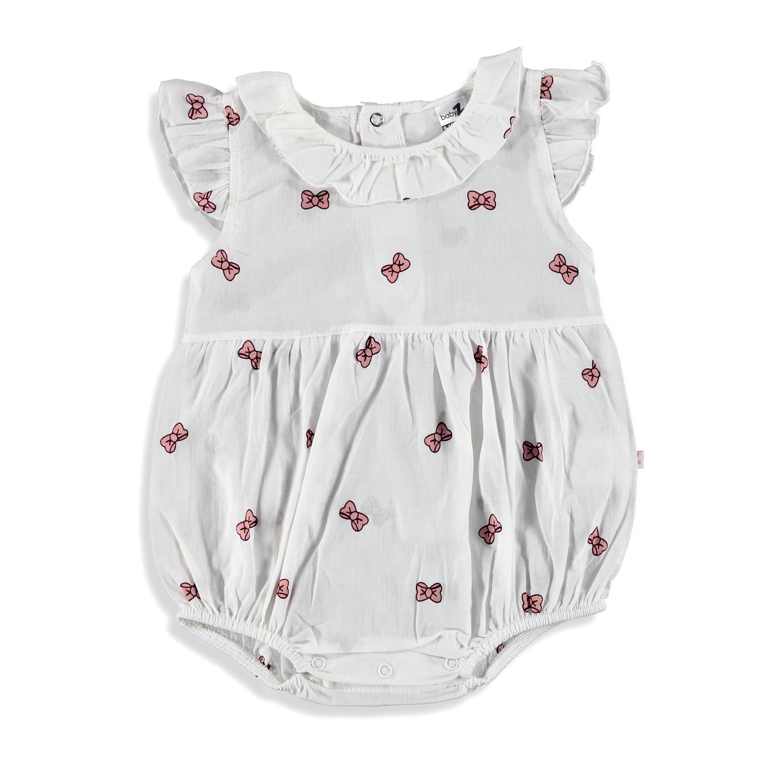 Ebebek BabyZ Bow Printed Baby Girl Short Romper
