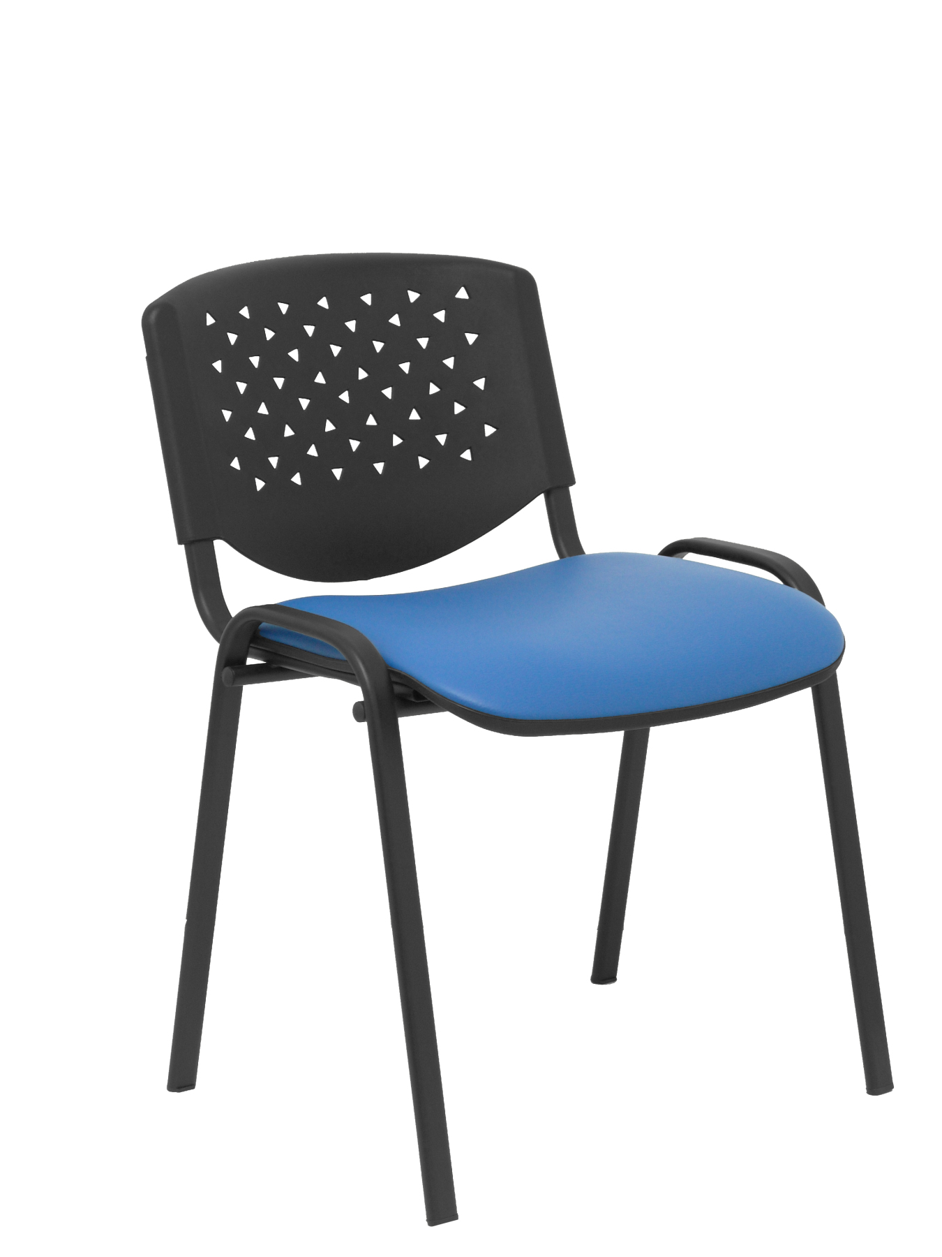 Pack 4 Confident Chairs Ergonomic, Stackable, Multi-purpose And Structure In Black Color PVC Backing Black And So