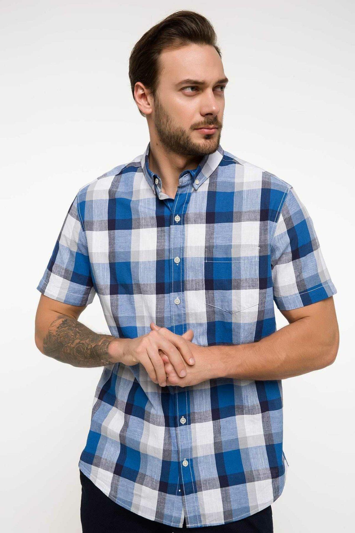 DeFacto Fashion Male Lapel Short Plaid Sleeve Shirt Men's Casual High Quality Loose Shirts Men Leisure Autumn New - I7838AZ18SM