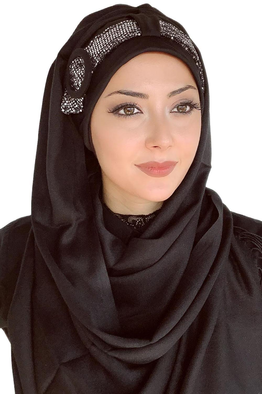 Yeni Moda Başörtüsü Müslüman Başörtüsü İslami Türban Şapka Fular Gümüş Tokalı Kemerli Siyah Abiye Hazır Şal
