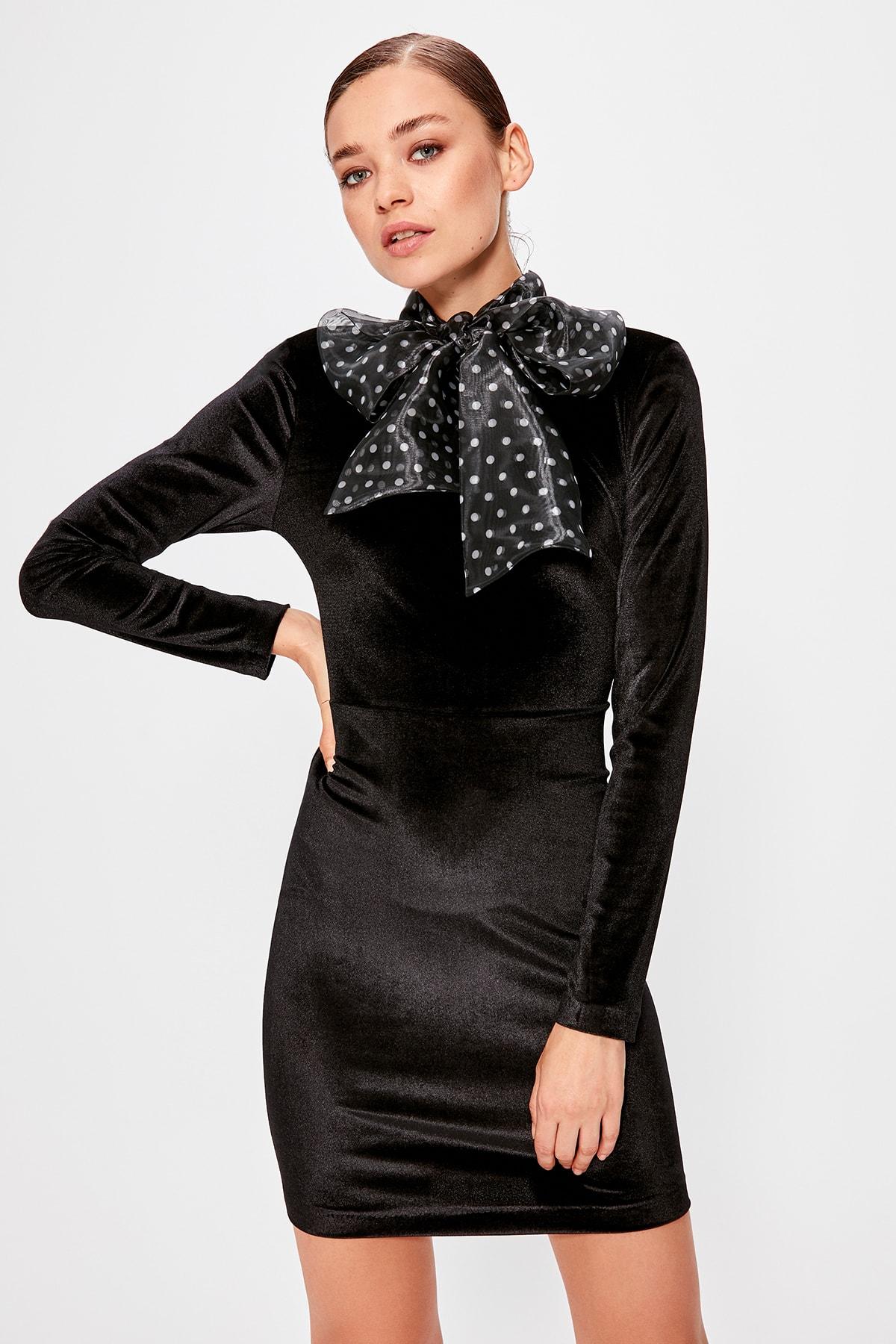 Trendyol Polka Dot Collar Dress TPRAW20EL0883