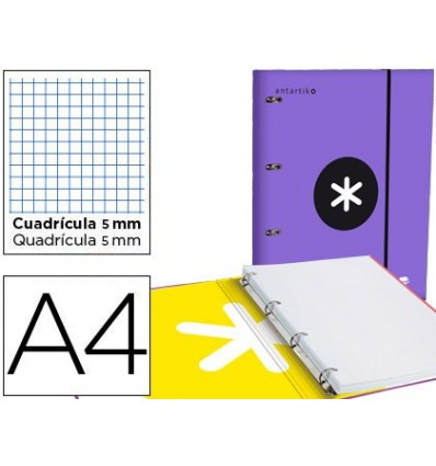 FOLDER WITH SPARE PARTS AND LAPEL LEADERPAPER ANTARTIK A4 TABLE 5 MM LINED 4 RINGS ROUND 40MM VIOLET COLOR