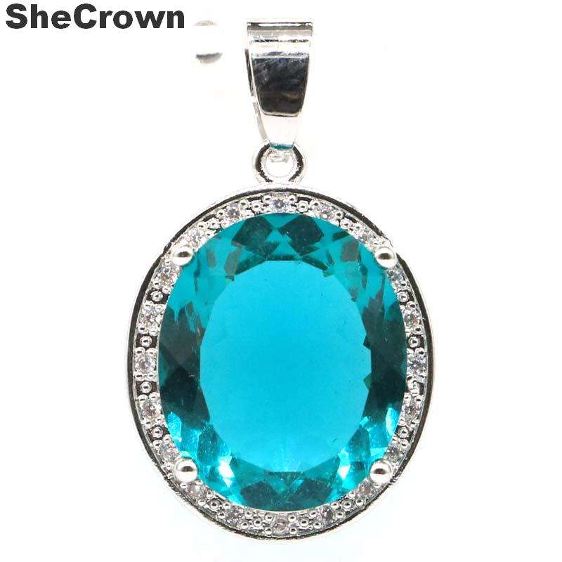31x19mm Classic Oval Shape 18x15mm Created Rich Blue Aquamarine White CZ Gift For Woman's Silver Pendant