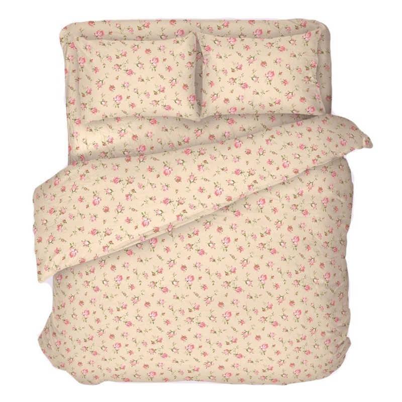 """Пододеяльник """"Розовые бутоны на бежевом"""" 2-спальный на молнии 175х215 см"""