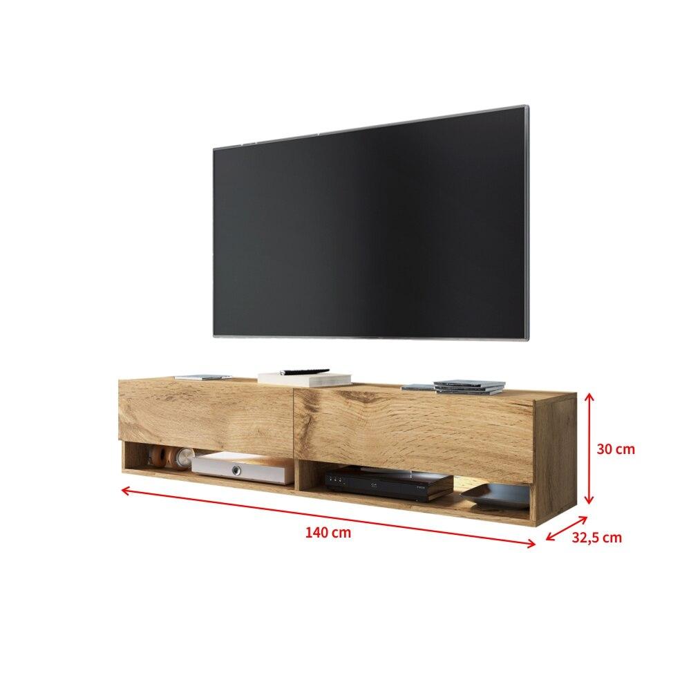 Selsey WANDER -  meuble TV moderne (140 cm/chêne wotan, avec LED) 4