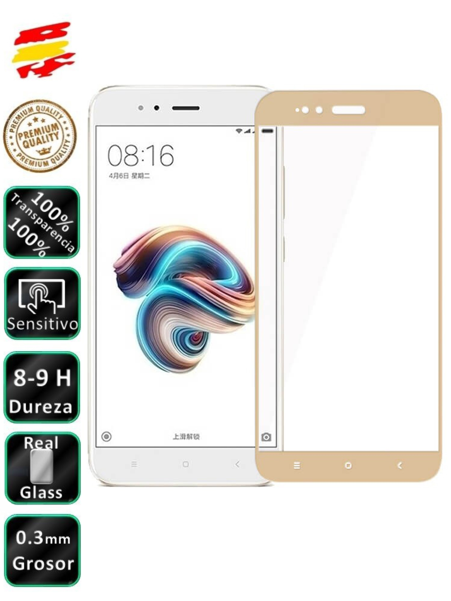 Protector Xiaomi MI A1 And 5X Golden 3D Full Screen Tempered Glass