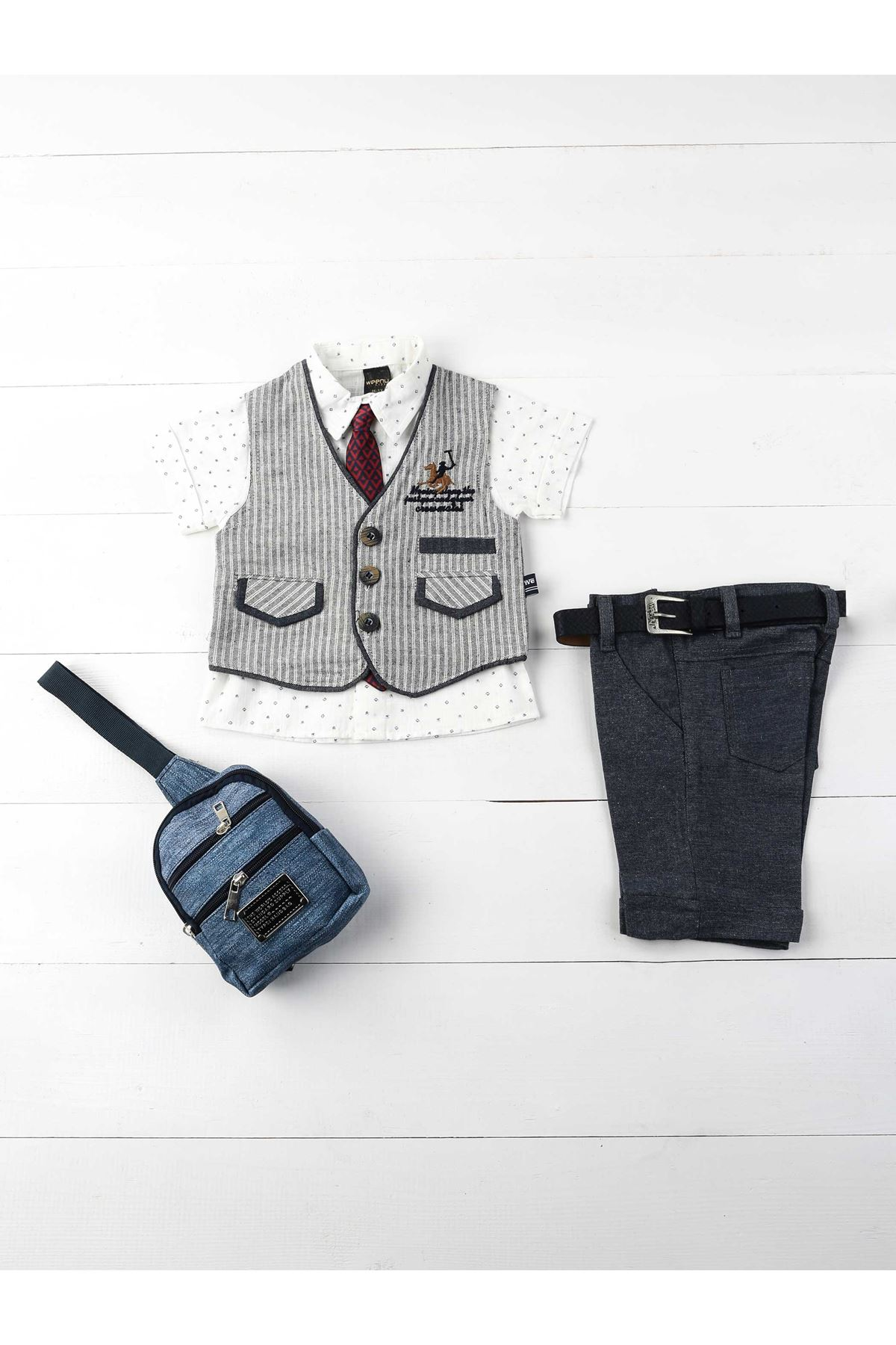 Gray Navy Blue Male Child 6 S Suit