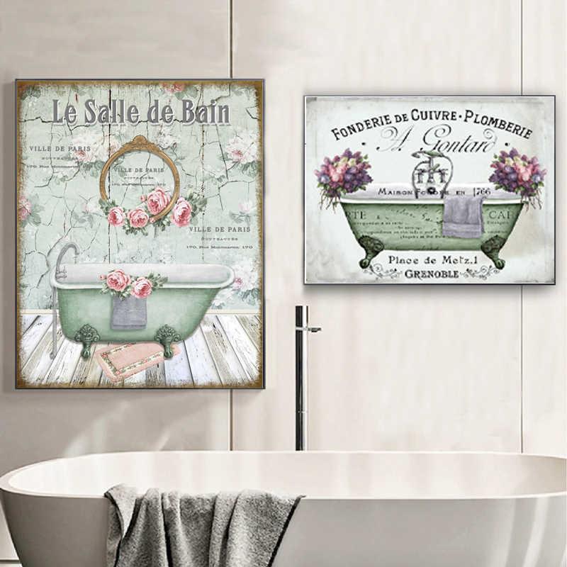 Vintage Franse Stijl Shabby Victoriaanse Bad Canvas Prints Aquarel Bloemen Badkamer Wall Art Painting Pictures Decoratie Schilderij Schoonschrift Aliexpress