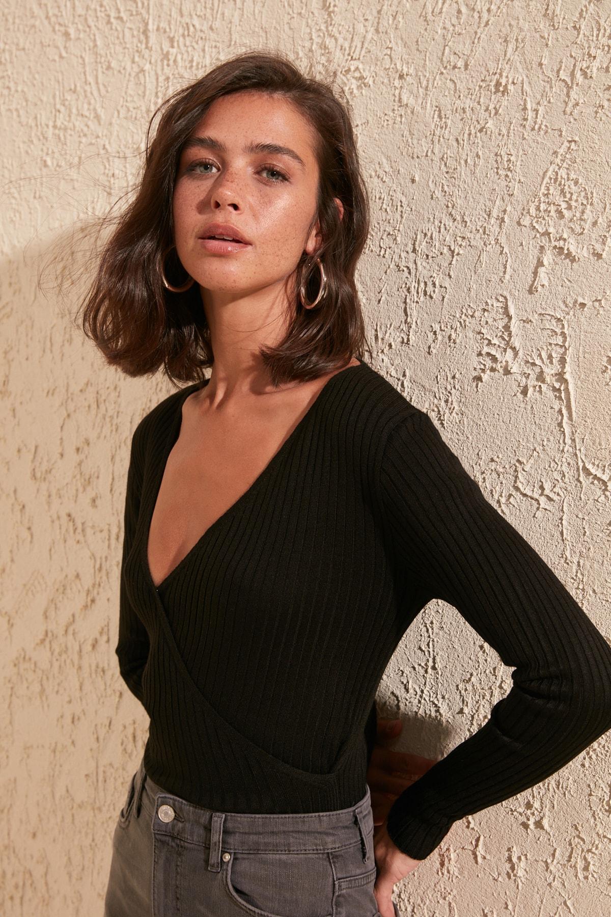 Trendyol Double Breasted Collar Knitwear Bluz TWOSS20BZ0914