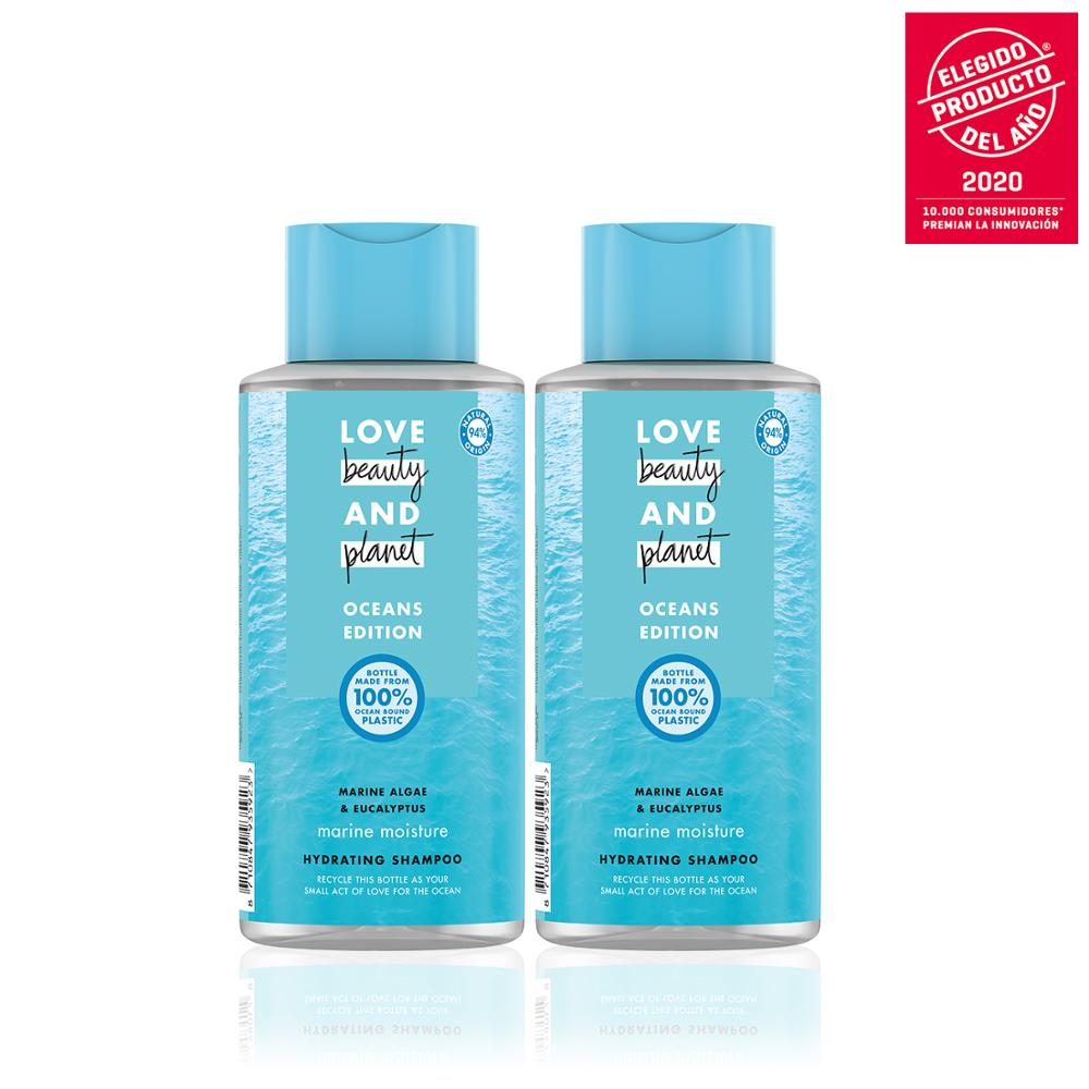 LOVE BEAUTY AND PLANET Set 2 shampoos for thin hair other 400ml, vegan seaweed AND eucalyptus, package 100% recyclable image