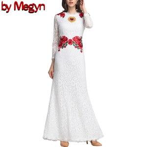 Женские вечерние платья Megyn, белое Элегантное Длинное платье с длинным рукавом и цветочной вышивкой, в стиле пэчворк, лето 2019