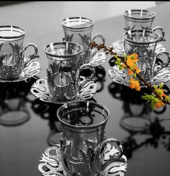 Turkish Silver Elegant tea set with Eighteen  pieces of six personality people silver Turkish tea cup set