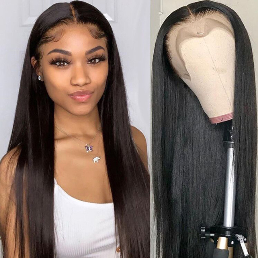 Lace Front Human Hair Wigs 360 Lace Frontal Wig Pre Plucked With Baby Hair Brazilian Straight Human Hair Wigs For Black Women