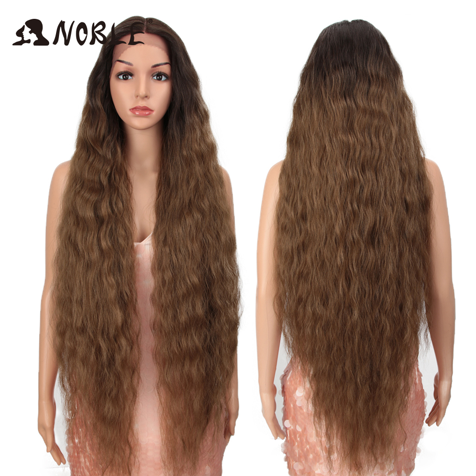 Asil Cosplay peruk dantel ön peruk uzun kıvırcık 42 inç Cosplay sarışın Ombre dantel ön peruk siyah kadınlar için sentetik dantel ön peruk