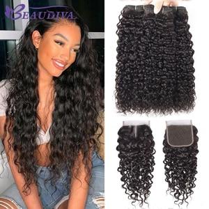 Beaudiva Hair Water Wave Bundles With Closure Curly Brazilian Human Hair Bundles With Closure Mink Brazilian Hair Weave Bundles