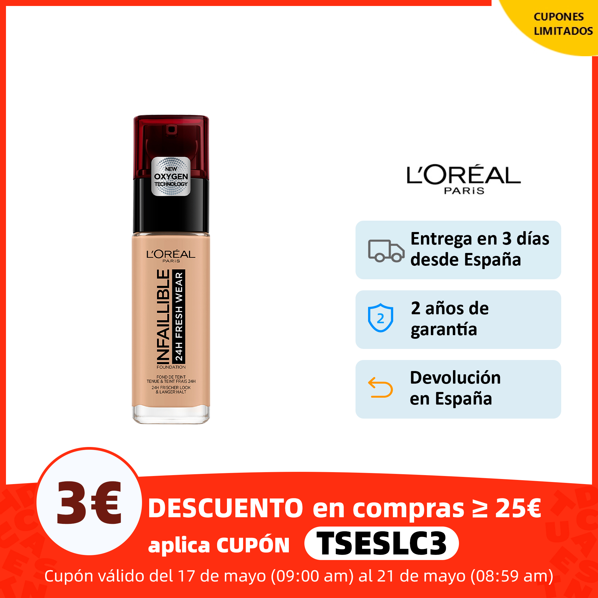 L'Oréal Paris Infalible 24H Fresh Wear Base Maquillaje de Larga Duración. Tonos 125, 200, 140 , 230, 130, 220, 300 y 225 30 ml|Base de maquillaje| - AliExpress
