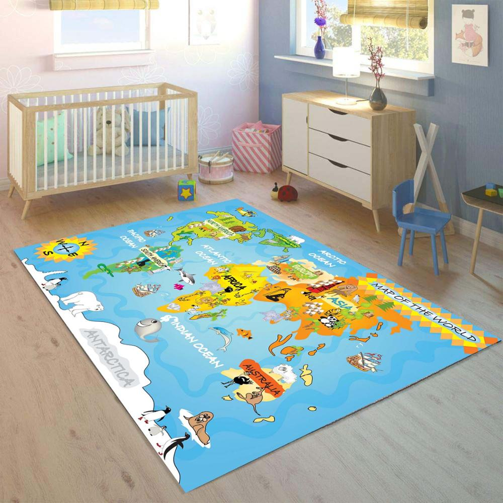 Else Animals Educatinal Earth World Map 3d Print Non Slip Microfiber Children Kids Room Decorative Area Rug Mat