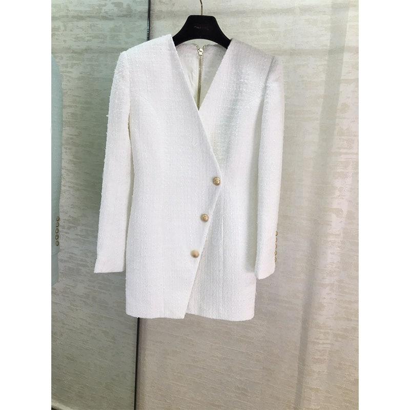 Осенне зимнее новое белое платье с длинными рукавами - 2
