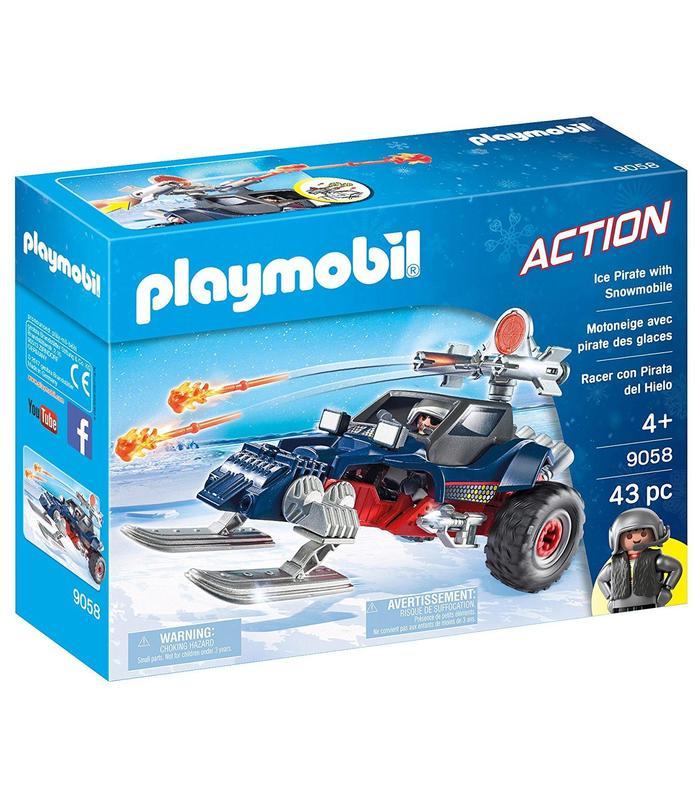 Playmobil 9058 Racer con Pirata del Hielo Juguetería Estatua de una pieza de 9 pulgadas, sombrero de paja, piratas, bigotes blancos, busto, figura de acción de 23,5 CM, juguete de modelos coleccionables, caja J430