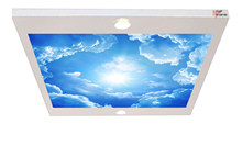 Clouds and sun Suspended Chandelier with Customisable Picture 80x68CM Stretch Seiling
