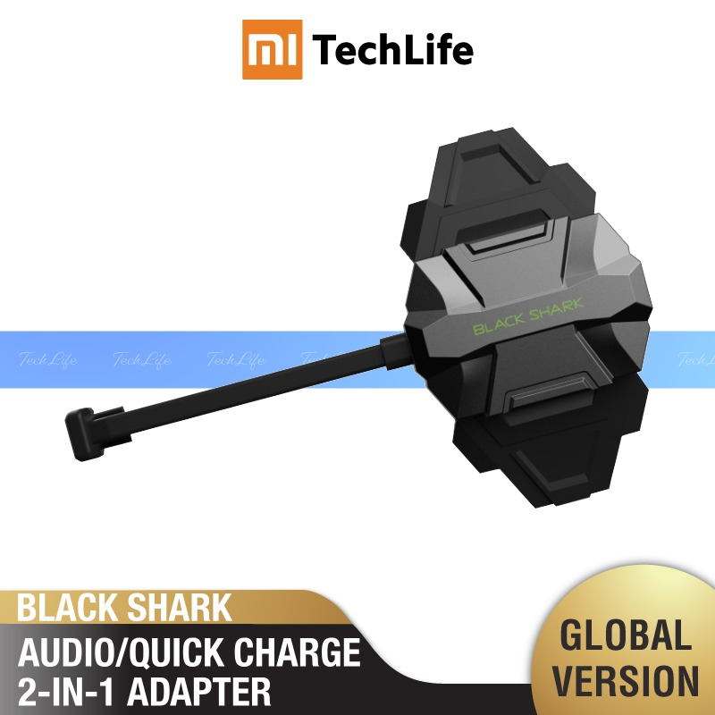 Black Shark Audio/QuickCharge 2-in-1 ADAPTER (Compatible W/ Many Smartphones, 3.5mm Earphone, USB Type-C Port, Fast-charging)
