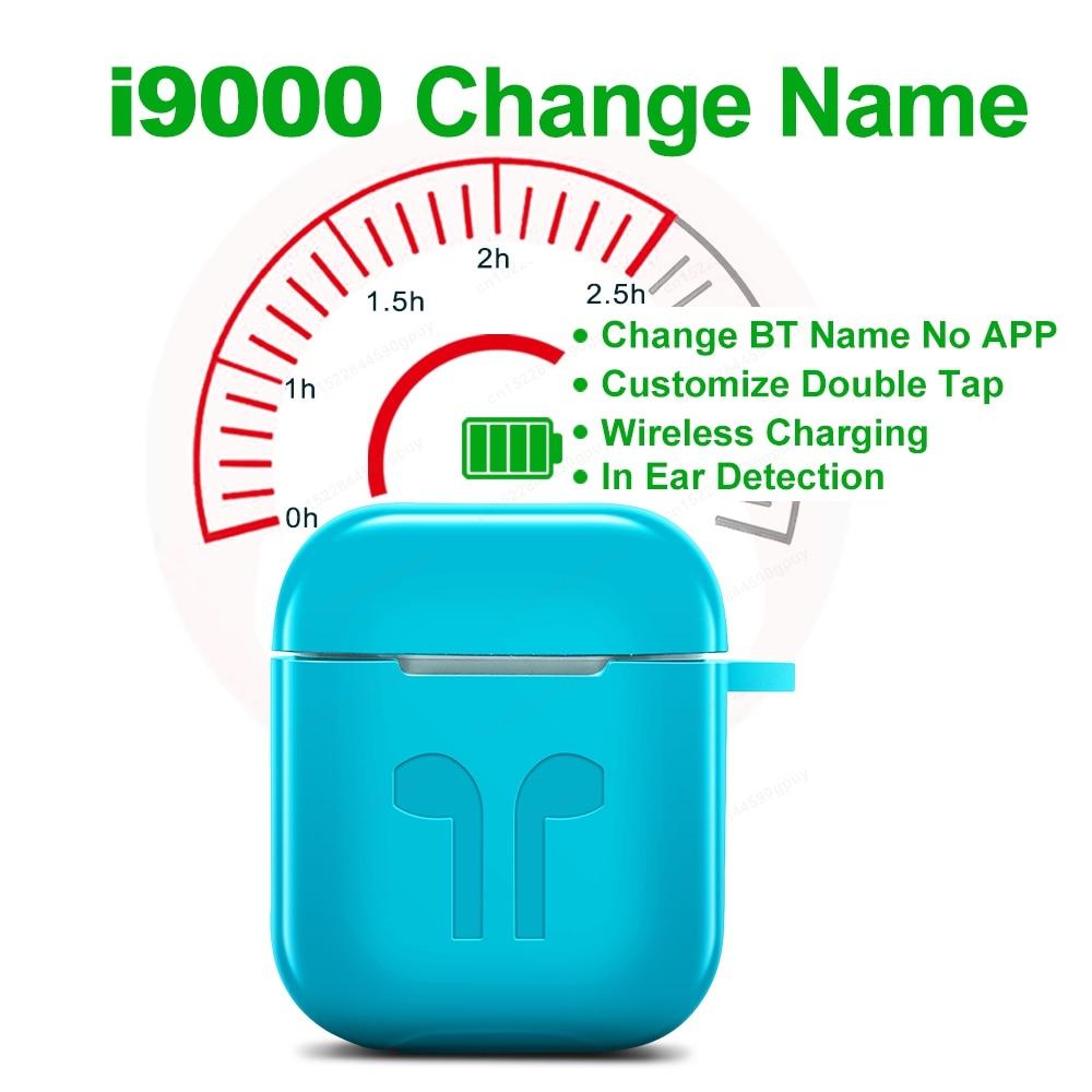 I9000 TWS Ändern Name Double Tap Bluetooth Kopfhörer Drahtlose Wasserdichte Sport Headsets Ohrhörer PK i500 i200 i10000 i90000 tws