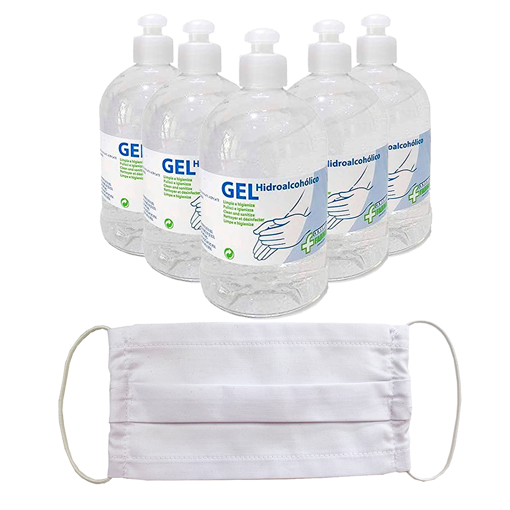 Gels Hidroalcohólicos Sanitizers Autosecantes's Hands In Pack With Mask Respiratory Protection Or Single