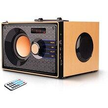 цена на Portable Bluetooth Speaker Wireless Clear Audio Rich Bass Outdoor Party Speaker Stereo Sound Retro Desktop Speaker with FM Radio