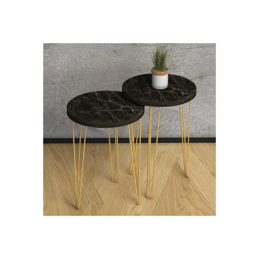 MADE IN TURKEY 2 Pieces Marble Coffee Tables Mini Modern Practical Tea Tables Living Room Zigon Wood Home Accessories Gold