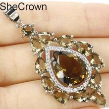 53x27mm SheCrown FLong Big Smokey Topaz Tanzanite Natural CZ Womans Silver Pendant