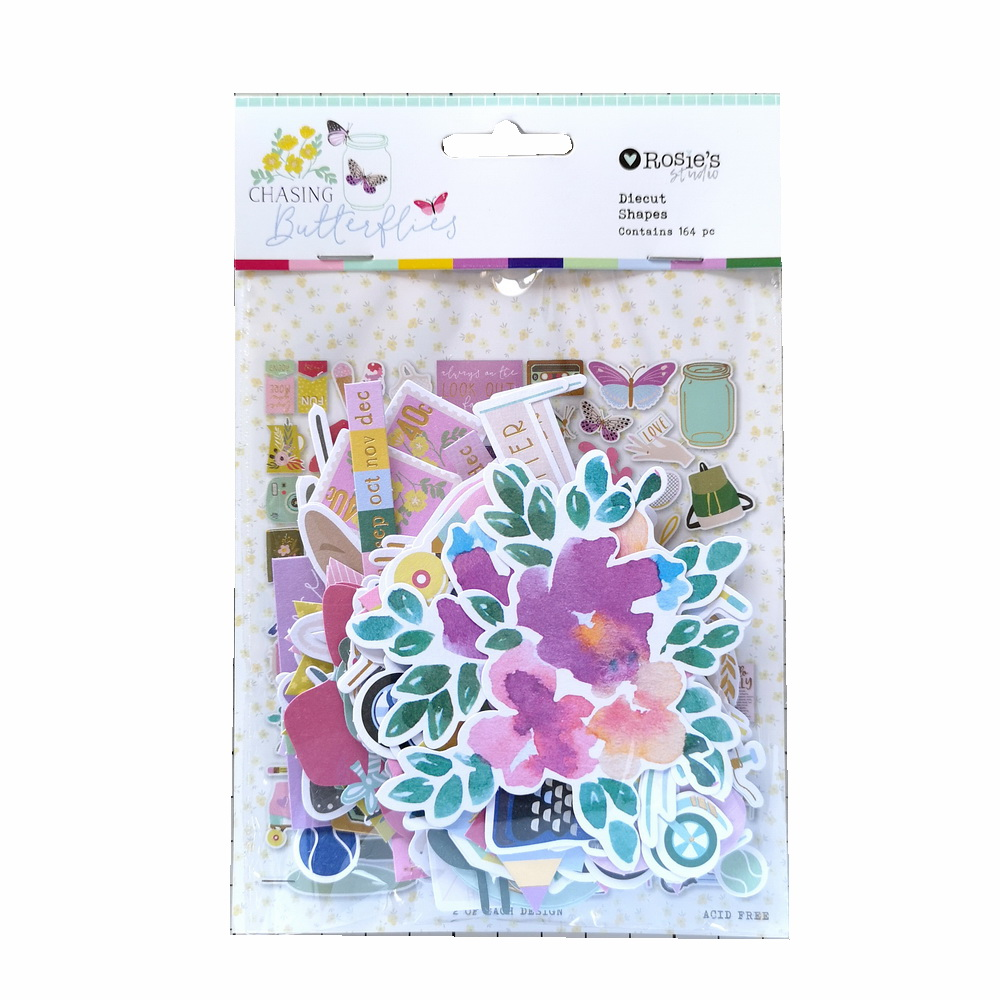 CRZCrafter 164pcs Printed Paper Diecut Shapes Foil Design For Scrapbooking Cardmaking Journal Embellishments Decorations