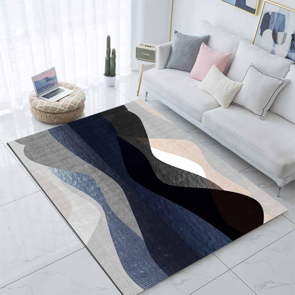 Else Black Blue Gray Pink Waves Nordec Design 3d Print Non Slip Microfiber Living Room Decorative Modern Washable Area Rug Mat
