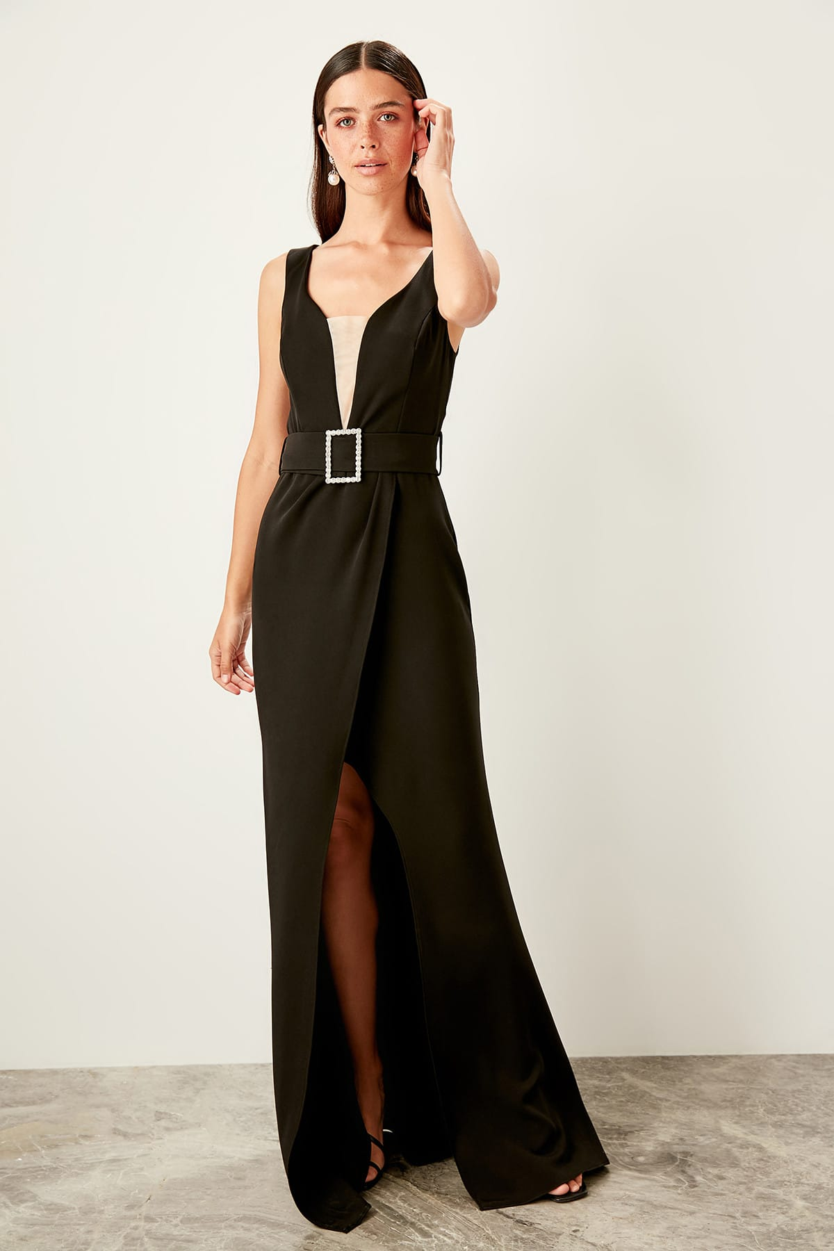 Trendyol Belt Detailed Evening Dress TPRSS19YL0014