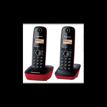 Panasonic KX-TG1612-Teléfono fijo inalámbrico Dúo (LCD identificador de llamadas de Intercomunicación de tecla de navegación... alarma de reloj) de color Rojo