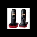Panasonic KX-TG1612-telefono fijo inalarmbrico Duo (lcd  identificador de llamadas  intercomunication  tecla de navegacion  alarma  reloj)  color Rojo