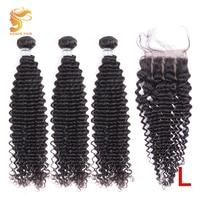 AOSUN волосы монгольские волнистые волосы 100% человеческие волосы 3 пучка с закрытием 8-26 дюймов натуральный цвет Remy волосы для наращивания