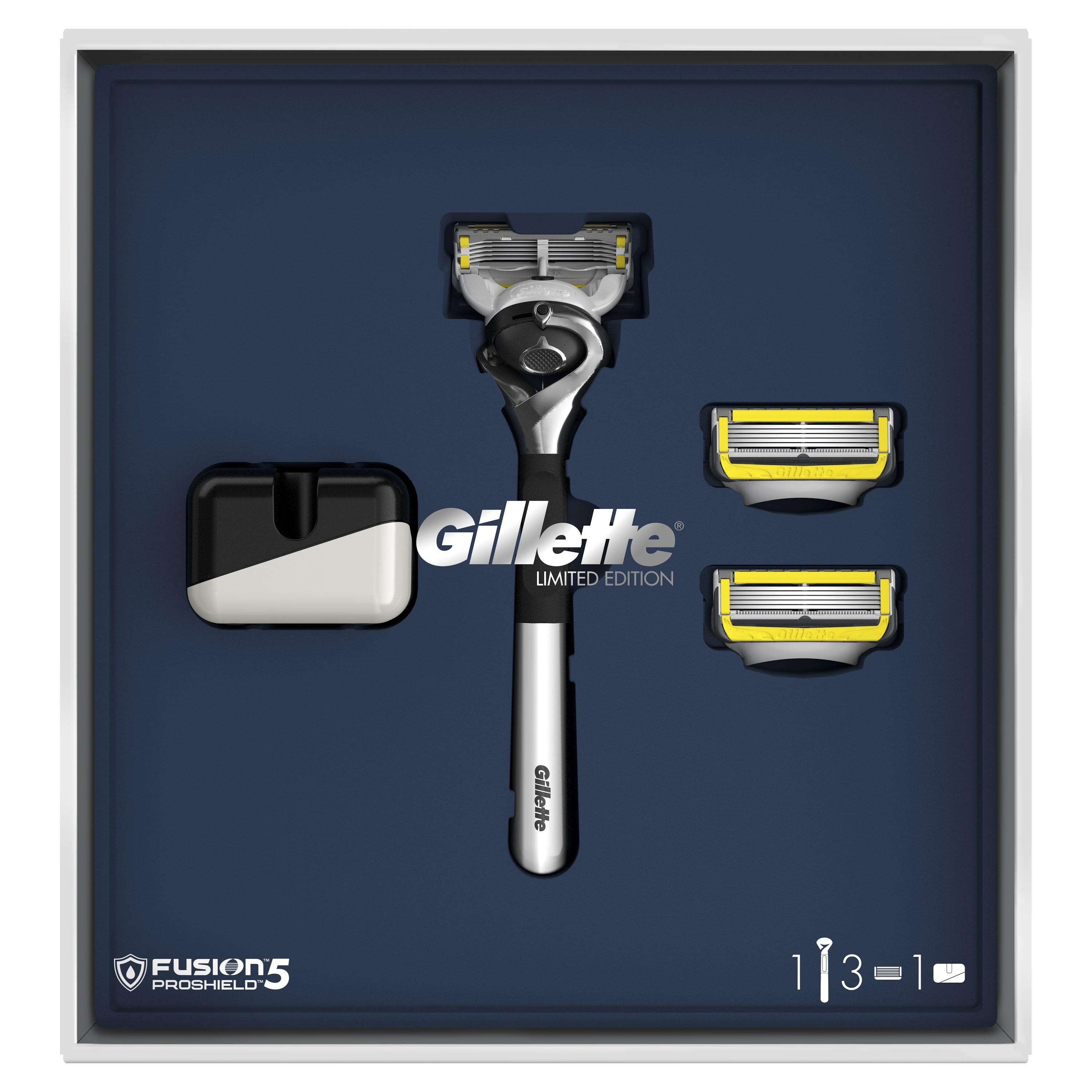 Gillette Fusion5 ProShield Gift Set Limited Edition with Chrome Handle (Razor + 3 Interchangeable Cassettes + Stand) цена