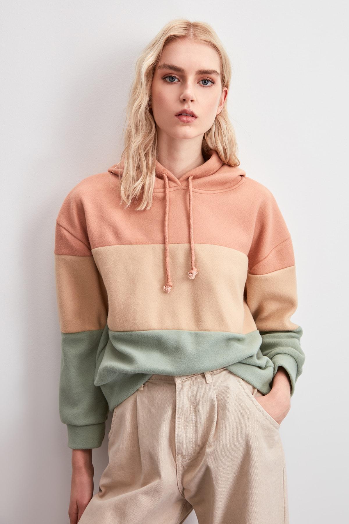 Trendyol With Color Block Şardonlu Knitted Sweatshirt TWOAW20SW0792
