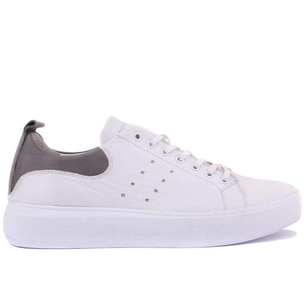 Sail-Lakers White, Gray Leather Men Sneaker