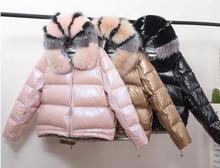 Женский пуховик с большим воротником, короткая зимняя куртка серебристого и розового цвета с натуральным лисьим мехом, 2019